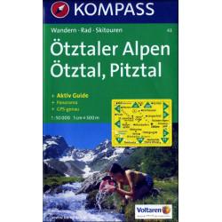 Carte randonnées Otzaler Alpen - Kompass 43