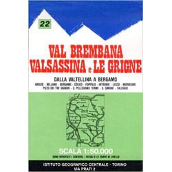 Achat Carte randonnées - Val Brembana Valsassina - IGC 22