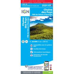 Achat carte de randonnées Chaine des Puys/PNR Volcan d'Auvergne - IGN 2531 ETR