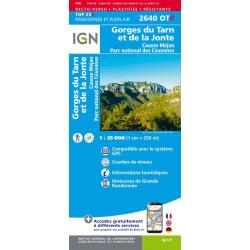 Achat carte de randonnées Gorges du Tarn et de la Jonte - Causse - Mejan PN des Cévennes - IGN 2640 OTR