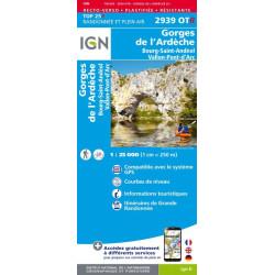 Achat carte de randonnées Gorges de l'Ardèche - Bourg Saint Andéal - IGN 2939 OTR