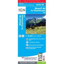 Achat carte de randonnées Massif de la Chartreuse Sud - IGN 3334 OTR - carte Résistante