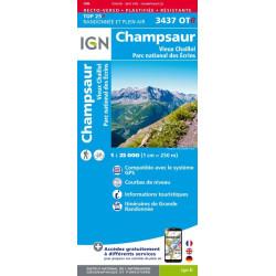 Achat carte de randonnées carte de randonnées Champsaur Vieux Chaillol PN des Ecrins - IGN 3437 OTR