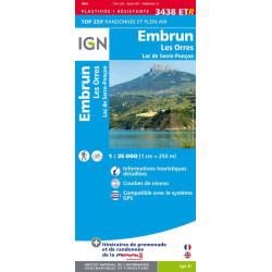 Achat carte de randonnées Embruns les Orres / Lac de Serre Ponçon - IGN 3438 ETR