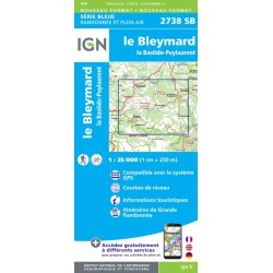 Achat Carte randonnées La Bastide Puylaurent, Le Bleymard - IGN 2738 SB