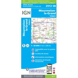 Achat Carte randonnées IGN - 2912 SB - Mourmelon-le-Grand, Sommepy