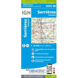 Achat Carte randonnées IGN - 3034 SB - Serrières, Anneyron