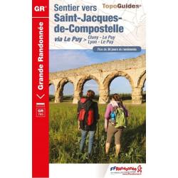 Topo guide randonnées - Sentier vers Saint-Jacques-de-Compostelle Lyon Cluny Le Puy - FFRP 765