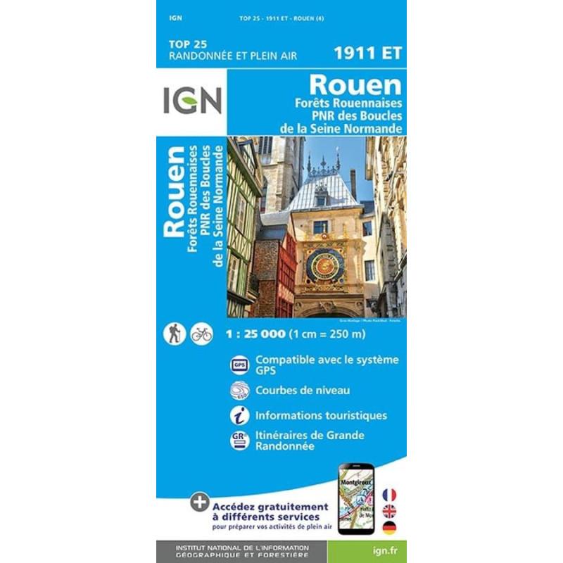 Carte randonnées IGN Forêt Rouennaise - 1911 ET