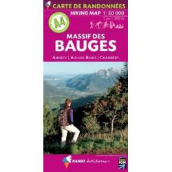 Achat Carte randonnées - Massif des Bauges - Randoéditions A4