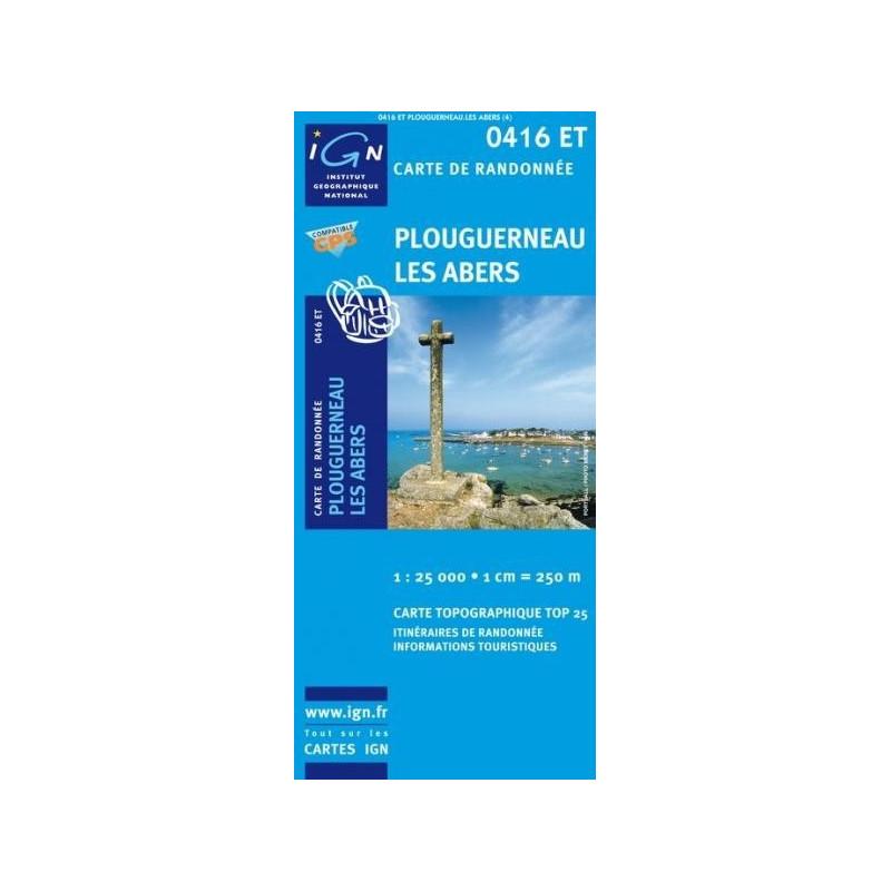Achat carte randonnées IGN Plouguerneau - Les Abers - 0416 ET