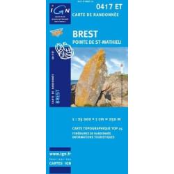 Achat Carte randonnées IGN Brest - Pointe de St-Mathieu - 0417 ET