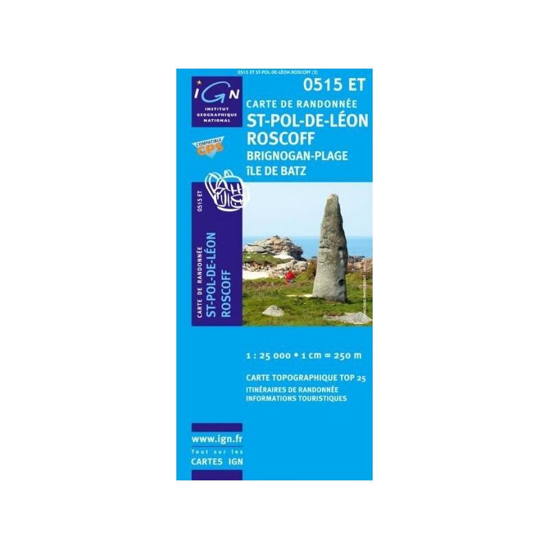 Achat Carte randonnées IGN St Pol de Léon Roscoff - 0515 ET