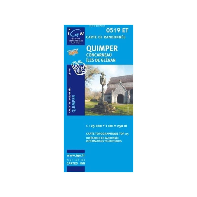 Achat Carte randonnées IGN  Quimper - Concarneau - Iles de Glénan - 0519 ET