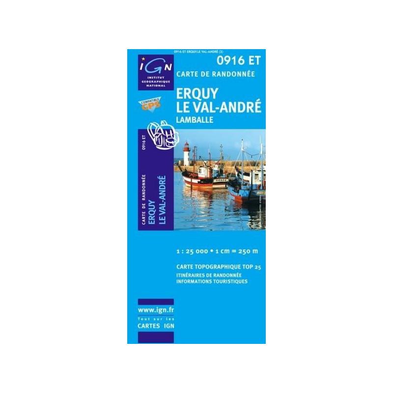 Achat Carte randonnées IGN Erquy Le Val-André - 0916 ET