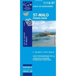 Achat Carte randonnées IGN St-Malo - Dinard -Dinan - 1116 ET