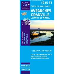 Achat Carte randonnées IGN Avranches - Granville - ILe Mont-St-Michel - 1215 ET