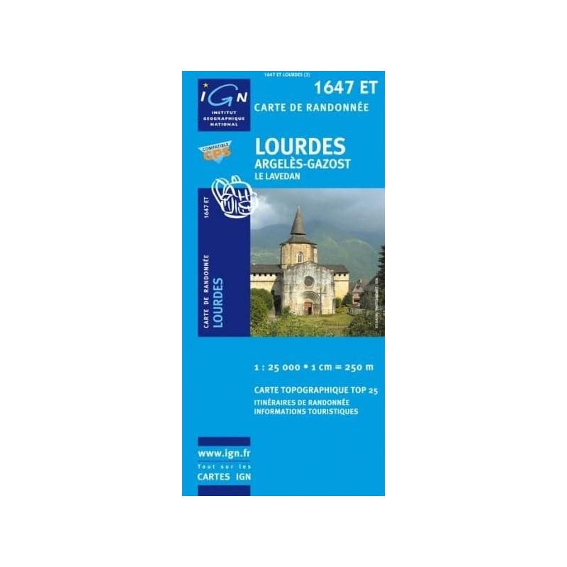 Achat Carte randonnées IGN Lourdes - 1647 ET