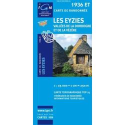 Achat Carte randonnées IGN Les Eyzies - 1936 ET