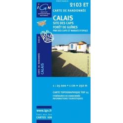 Achat Carte randonnées IGN Calais - Site des caps forêt de Guînes - 2103 ET