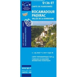 Achat Carte randonnées IGN Rocamadour Padirac - Vallée de la Dordogne - 2136 ET