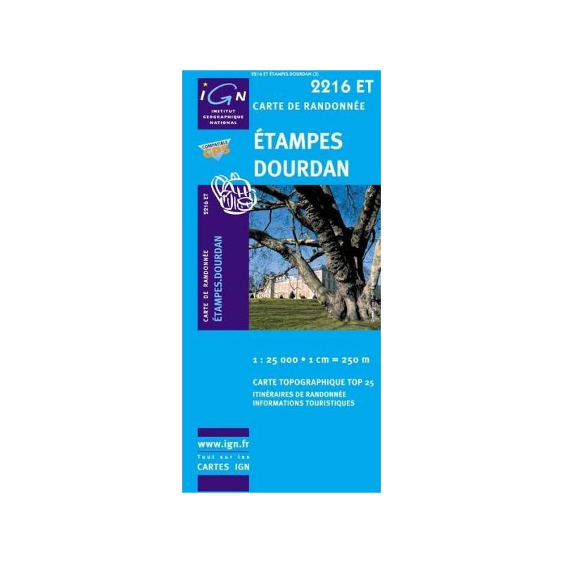 Achat Carte randonnées IGN Etampes Dourdan - 2216 ET