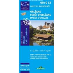 Achat Carte randonnées IGN Orléans Forêt d'Orléans - Massif d'Orléans - 2219 ET