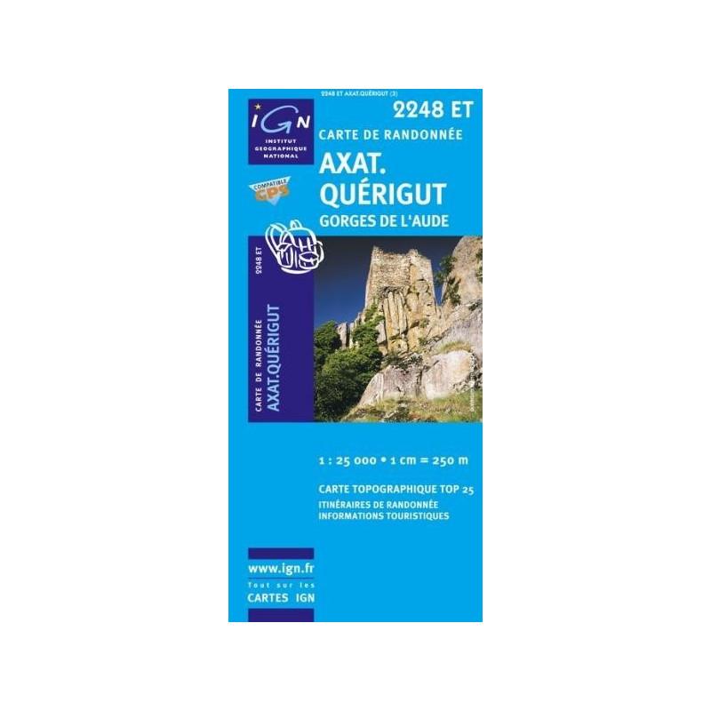 Achat Carte randonnées IGN Axat Quérigut - Gorges de l'Aude - 2248 ET