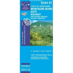 Achat Carte randonnées IGN Montagne Noire (Est) - Mazamet - 2344 ET