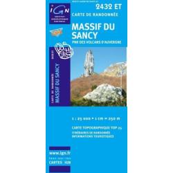 Achat Carte randonnées IGN Massif du Sancy - PNR des volcans d'Auvergne - 2432 ET