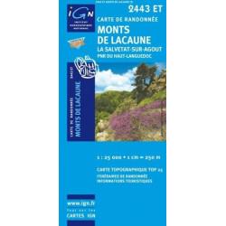Achat Carte randonnées IGN Monts De Lacaune - La Salvetat sur Agout - 2443 ET