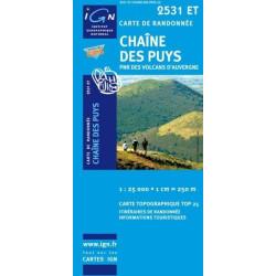 Achat Carte randonnées IGN Chaîne Des Puys - PNR des volcans d'Auvergne - 2531 ET