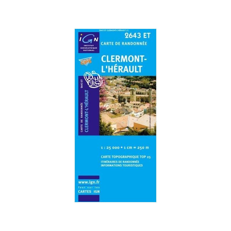 Achat Carte randonnées IGN Clermont l'Hérault - 2643 ET