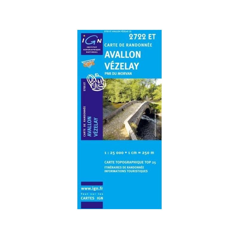 Achat Carte randonnées IGN Avallon Vézelay - PNR du Morvan - 2722 ET