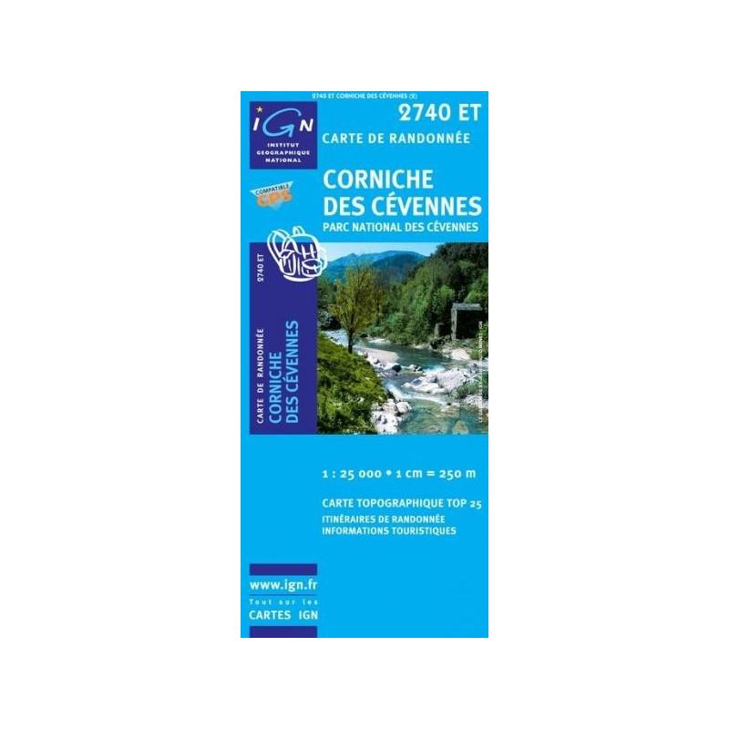 Achat Carte randonnées IGN Corniche Des Cévennes - Parc national des Cévennes - 2740 ET