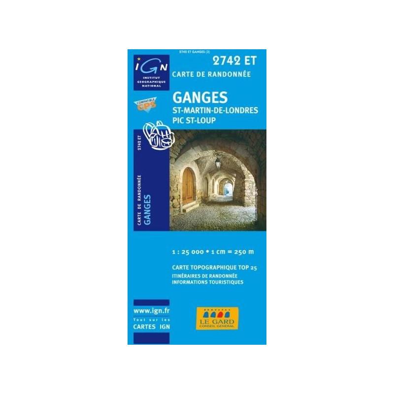 Achat Carte randonnées IGN Ganges - St Martin de Londres Pic St Loup - 2742 ET