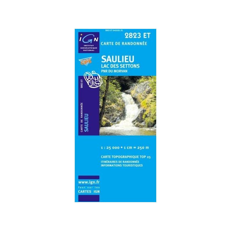 Achat Carte randonnées IGN Saulieu - Lac des Settons - 2823 ET