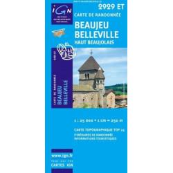 Achat Carte randonnées IGN Beaujeu Belleville - Haut Beaujolais - 2929 ET