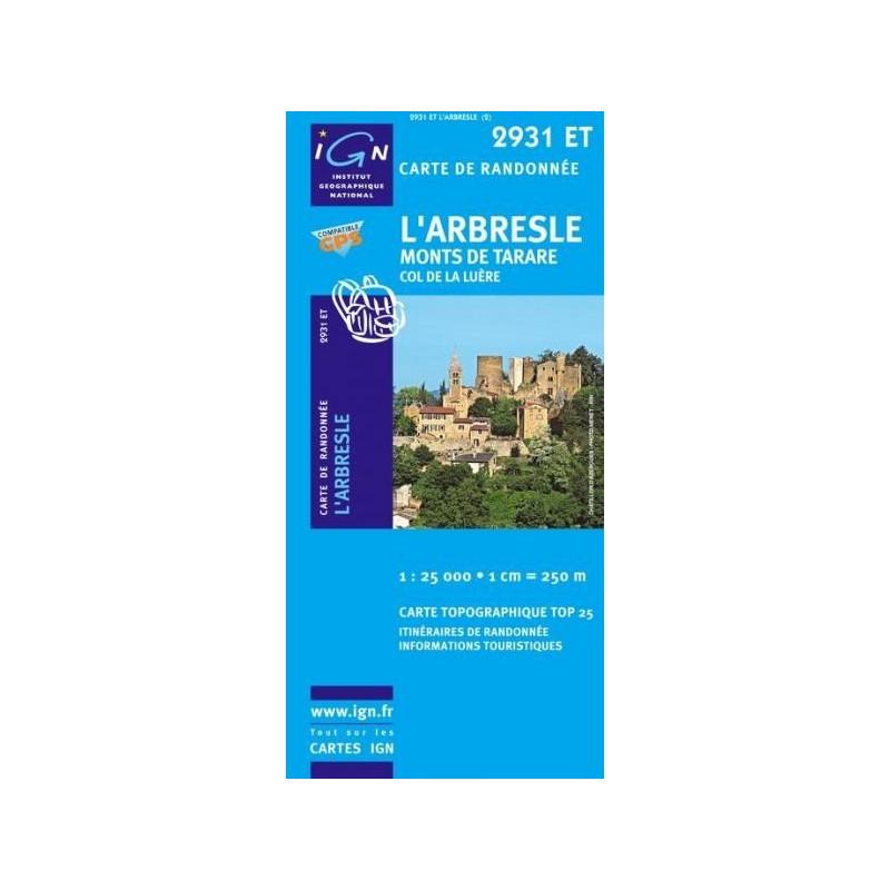 Achat Carte randonnées IGN l'Arbresle - Monts de Tarare - 2931 ET