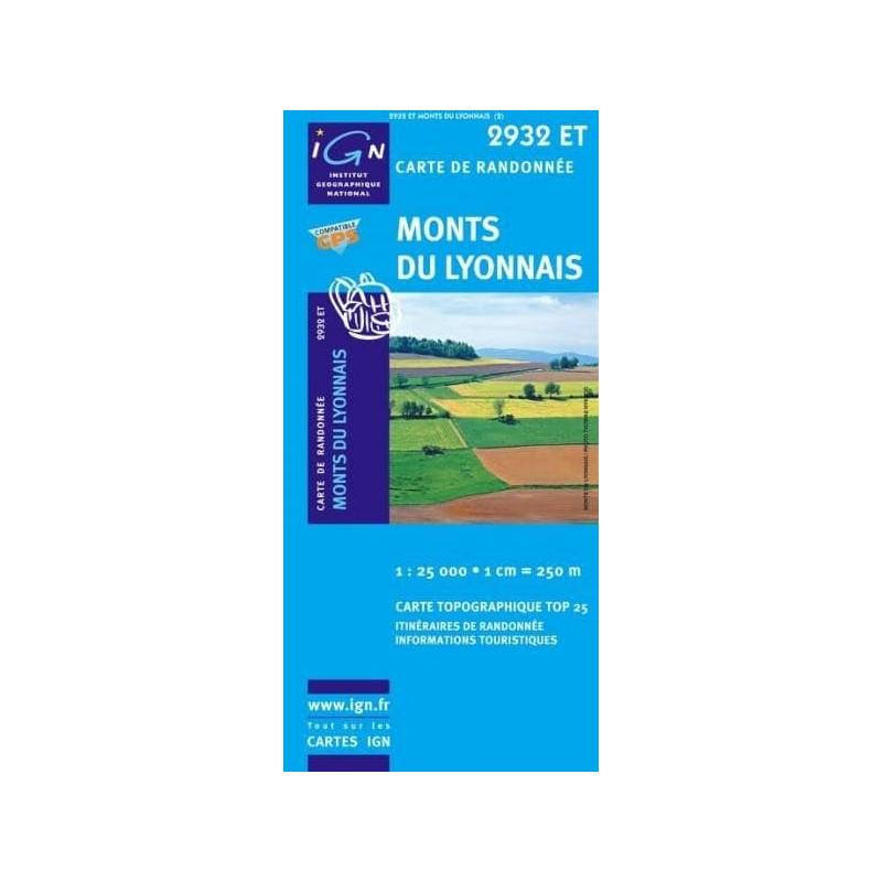 Achat Carte randonnées IGN Monts Du Lyonnais - 2932 ET