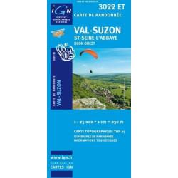 Achat Carte randonnées IGN Val Suzon - St Seine l'Abbaye - 3022 ET