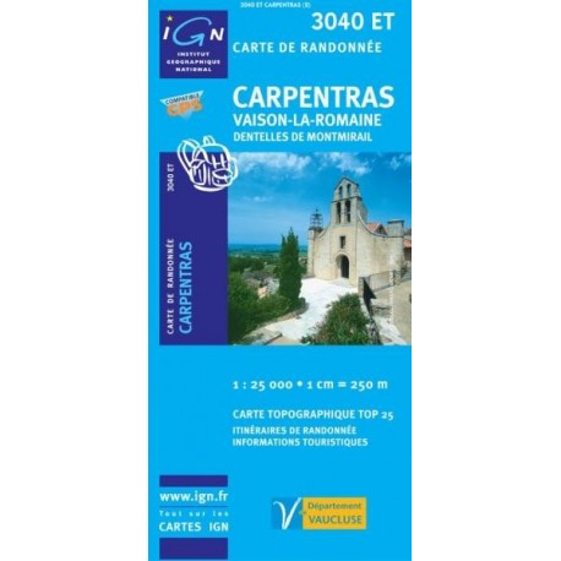 Achat Carte randonnées IGN Carpentras - Vaison la Romaine - 3040 ET