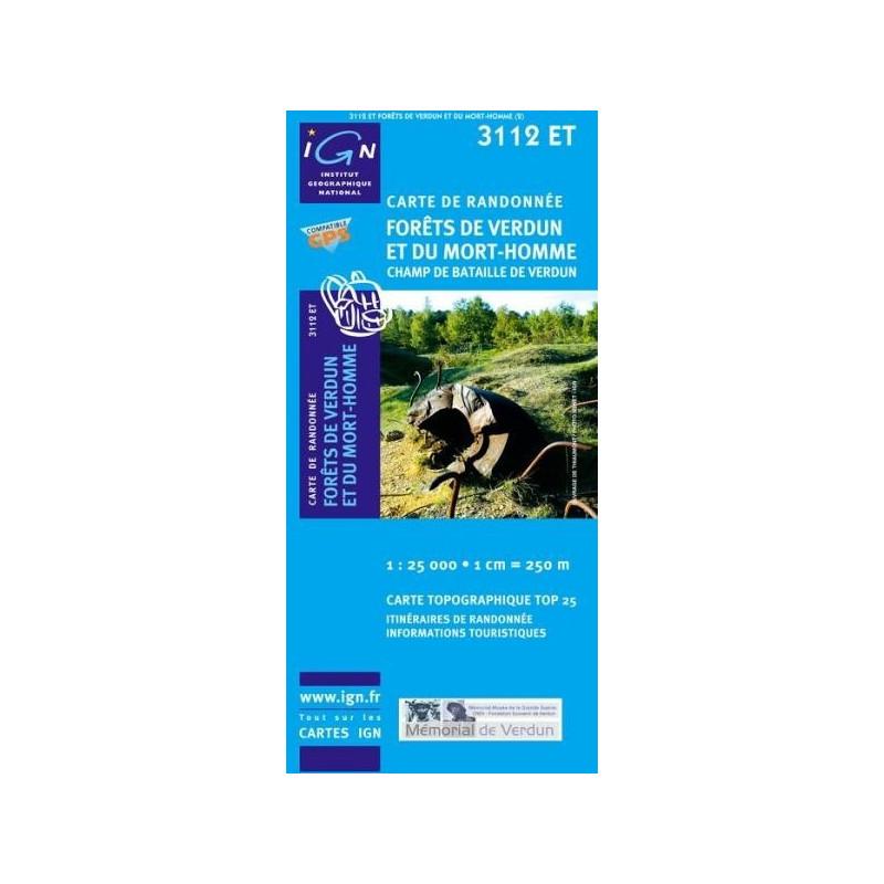 Achat Carte randonnées IGN Forêts De Verdun Et Du Mort Homme - Champ de bataille de Verdun - 3112 ET