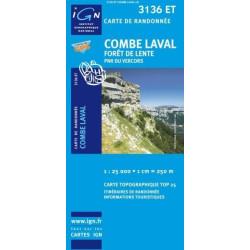 Achat Carte randonnées IGN Combe Laval - Forêt de Lente - 3136 ET