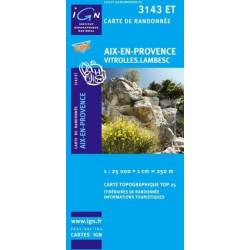 Achat Carte randonnées IGN Aix En Provence - Vitrolles Lambesc - 3143 ET