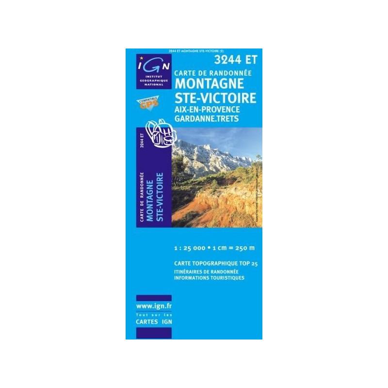 Achat Carte randonnées IGN Montagne Ste Victoire - Aix en Provence Gardanne Trets - 3244 ET