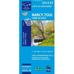 Achat Carte randonnées IGN Nancy Toul - Forêt de Haye - 3315 ET