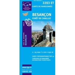 Achat Carte randonnées IGN Besançon - Forêt de Chailluz - 3323 ET