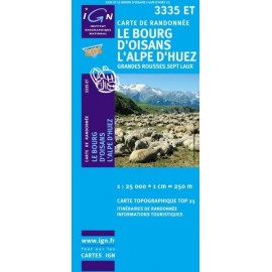 Achat Carte randonnées IGN Le Bourg d'Oisans l'Alpe d'Huez - Grandes Rousses Sept Laux - 3335 ET