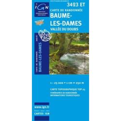 Achat Carte randonnées IGN Baume Les Dames - Vallée du Doubs - 3423 ET